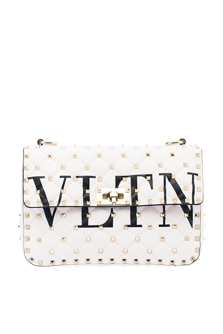 Valentino Белая сумка с логотипом и заклепками Rockstud Spike.It сумка giovanni valentino mtp00131699 valentino c rockee