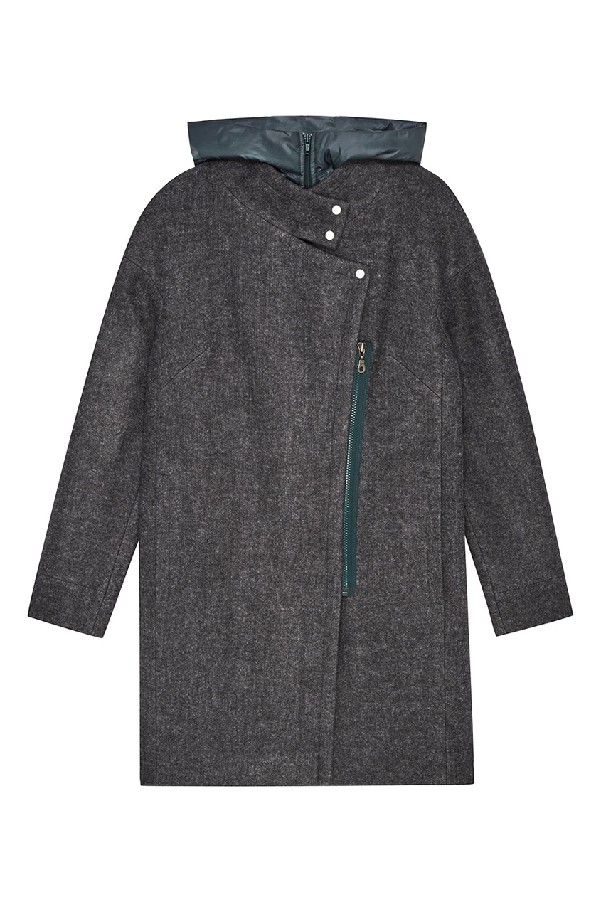 NOVAYA Серое меланжевое пальто с капюшоном