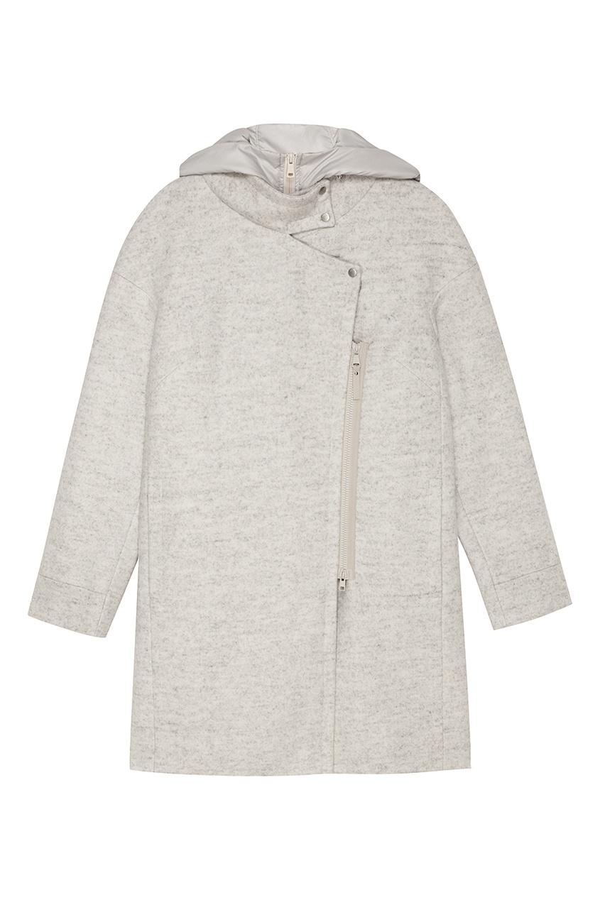 NOVAYA Светло-серое пальто с капюшоном
