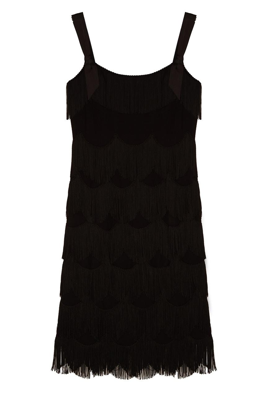Marc Jacobs Черное платье с бахромой платье черное с паетками 44