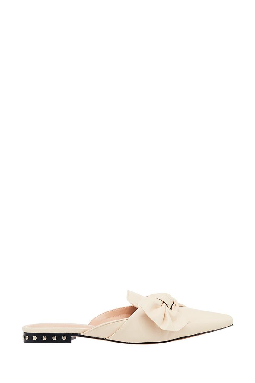 Купить Кожаные мюли с драпировкой от Lola Cruz белого цвета