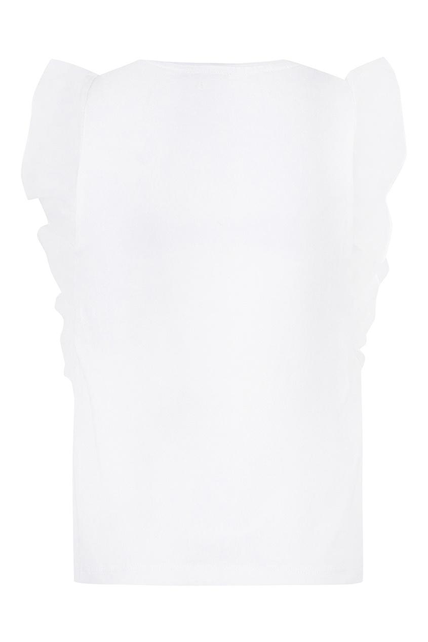 Белый топ с оборкой на рукавах