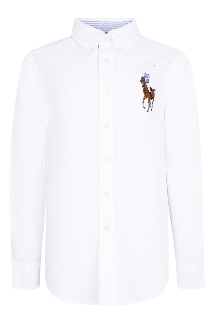 Ralph Lauren Children Белая рубашка с цветной вышивкой осенние новый пиджак обрезанное корейской версии новый осенний износ тонкая белая рубашка леди рукава белая рубашка