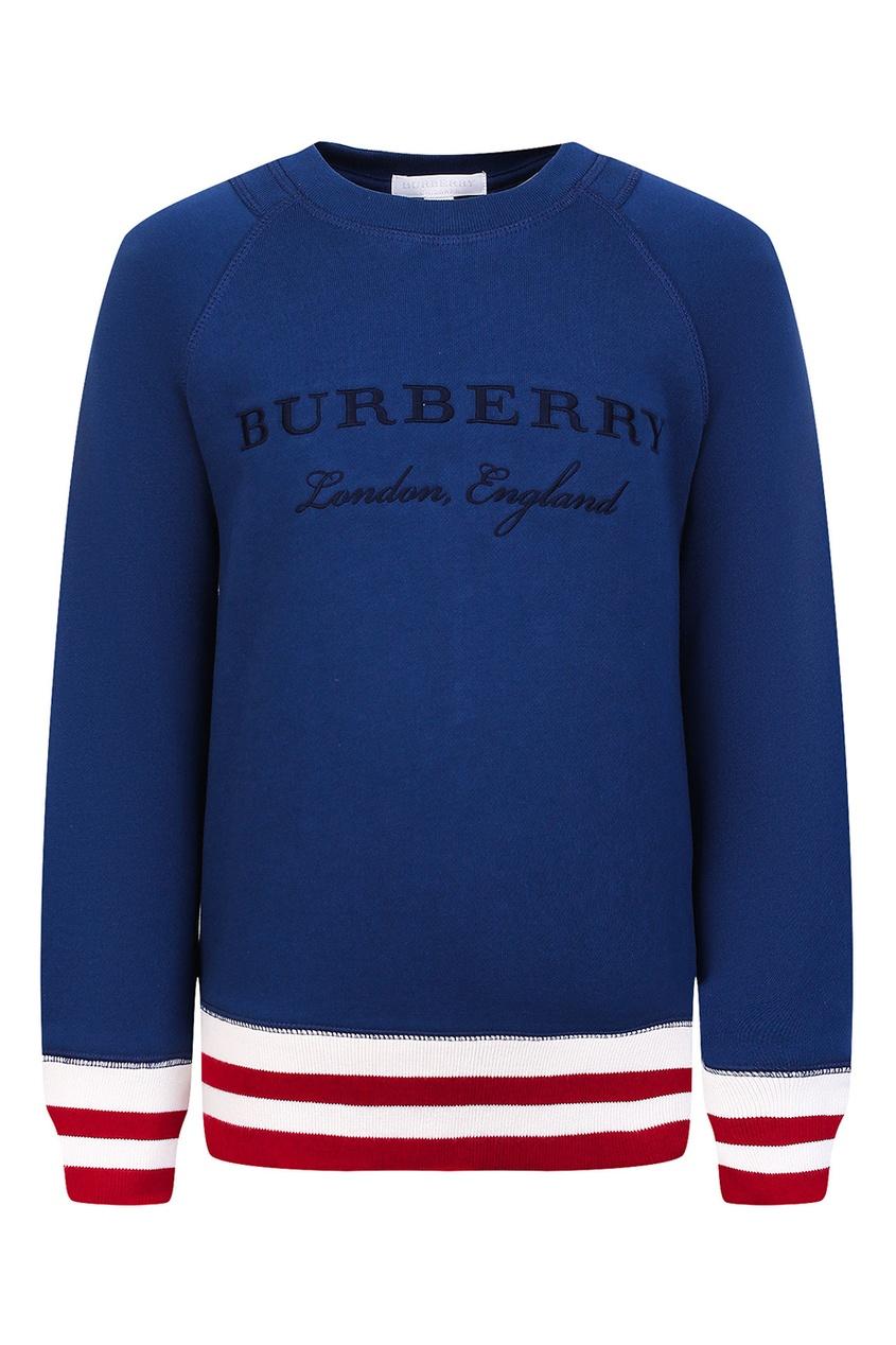 Burberry Children Синий свитшот с полосатой отделкой burberry children жилетка с контрастной отделкой