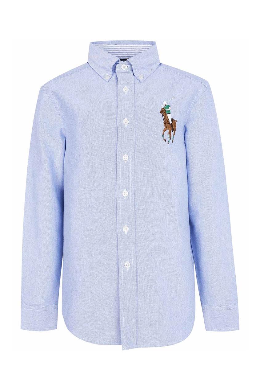 Голубая рубашка с цветной вышивкой