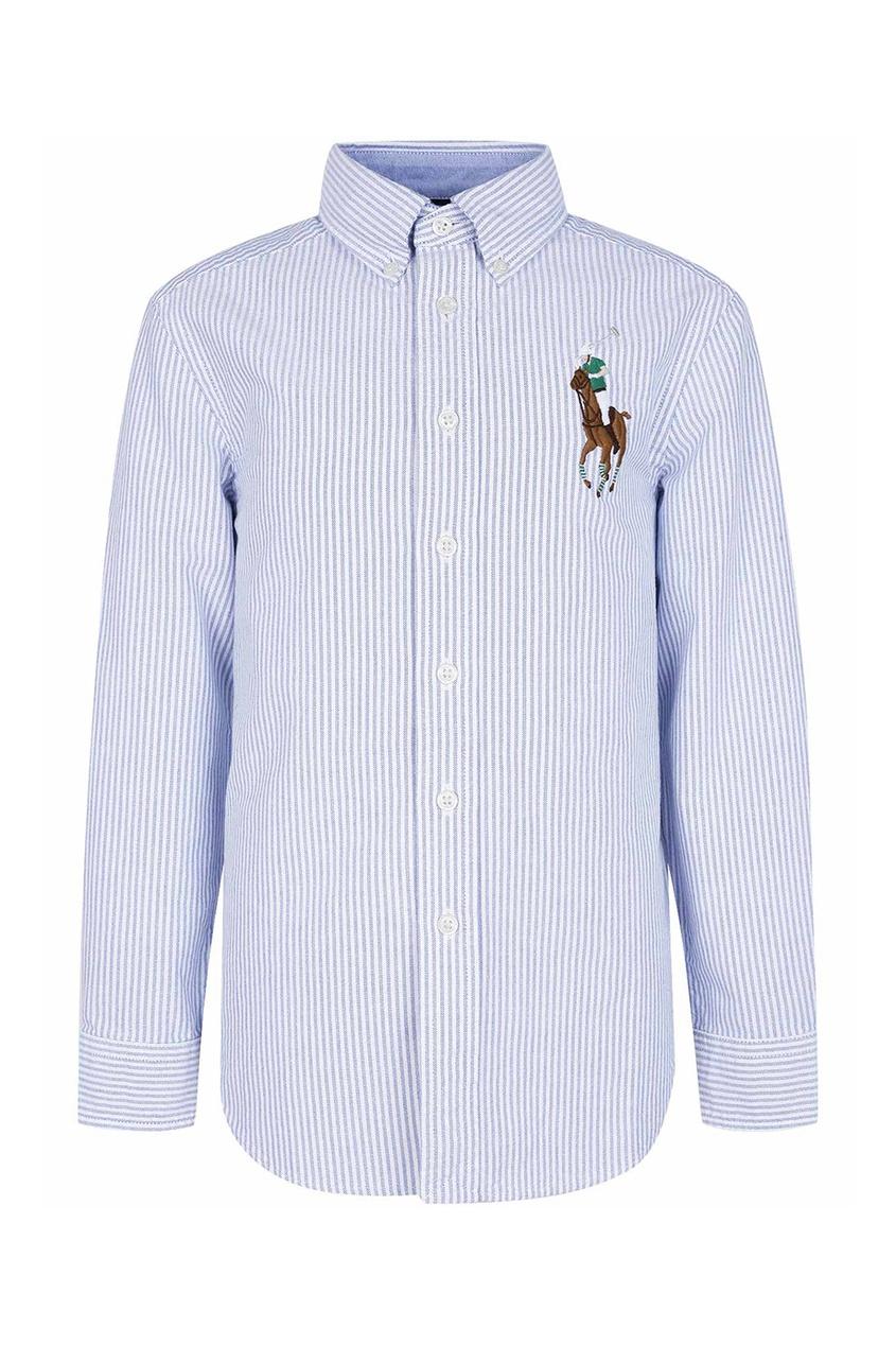 Рубашка в полоску с цветной вышивкой