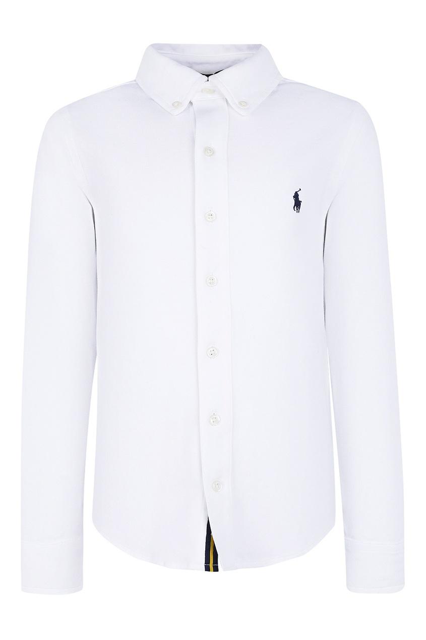 Ralph Lauren Children Белая рубашка с вышивкой осенние новый пиджак обрезанное корейской версии новый осенний износ тонкая белая рубашка леди рукава белая рубашка