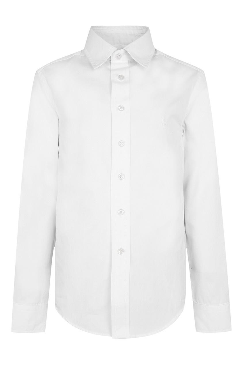 Ralph Lauren Children Белая хлопковая рубашка осенние новый пиджак обрезанное корейской версии новый осенний износ тонкая белая рубашка леди рукава белая рубашка