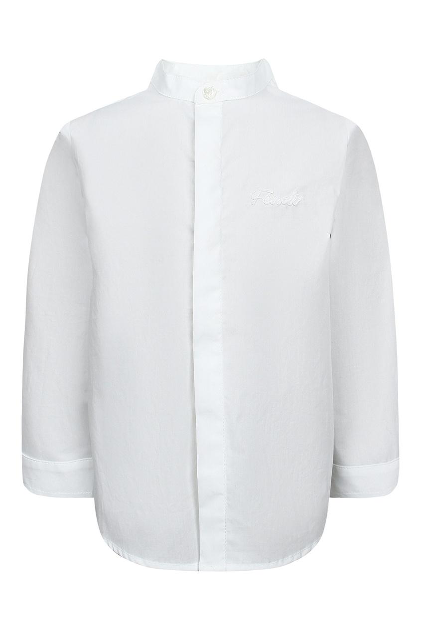 Fendi Children Белая рубашка со скрытой застежкой осенние новый пиджак обрезанное корейской версии новый осенний износ тонкая белая рубашка леди рукава белая рубашка