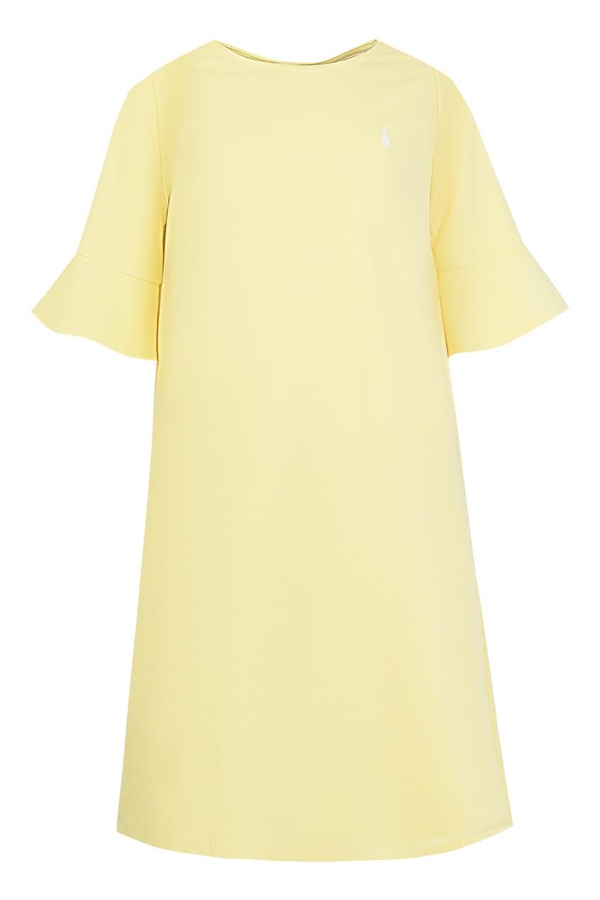 Желтое платье с воланами на рукавах