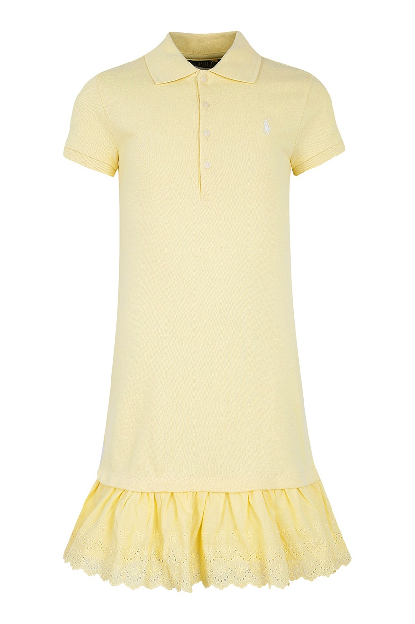 Желтое платье-футболка с оборкой