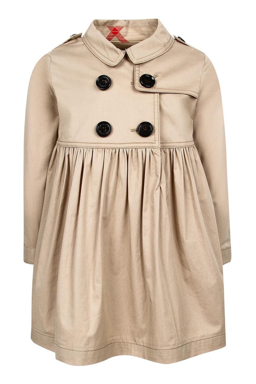 Burberry Children Бежевое платье-тренч burberry хлопковое пальто