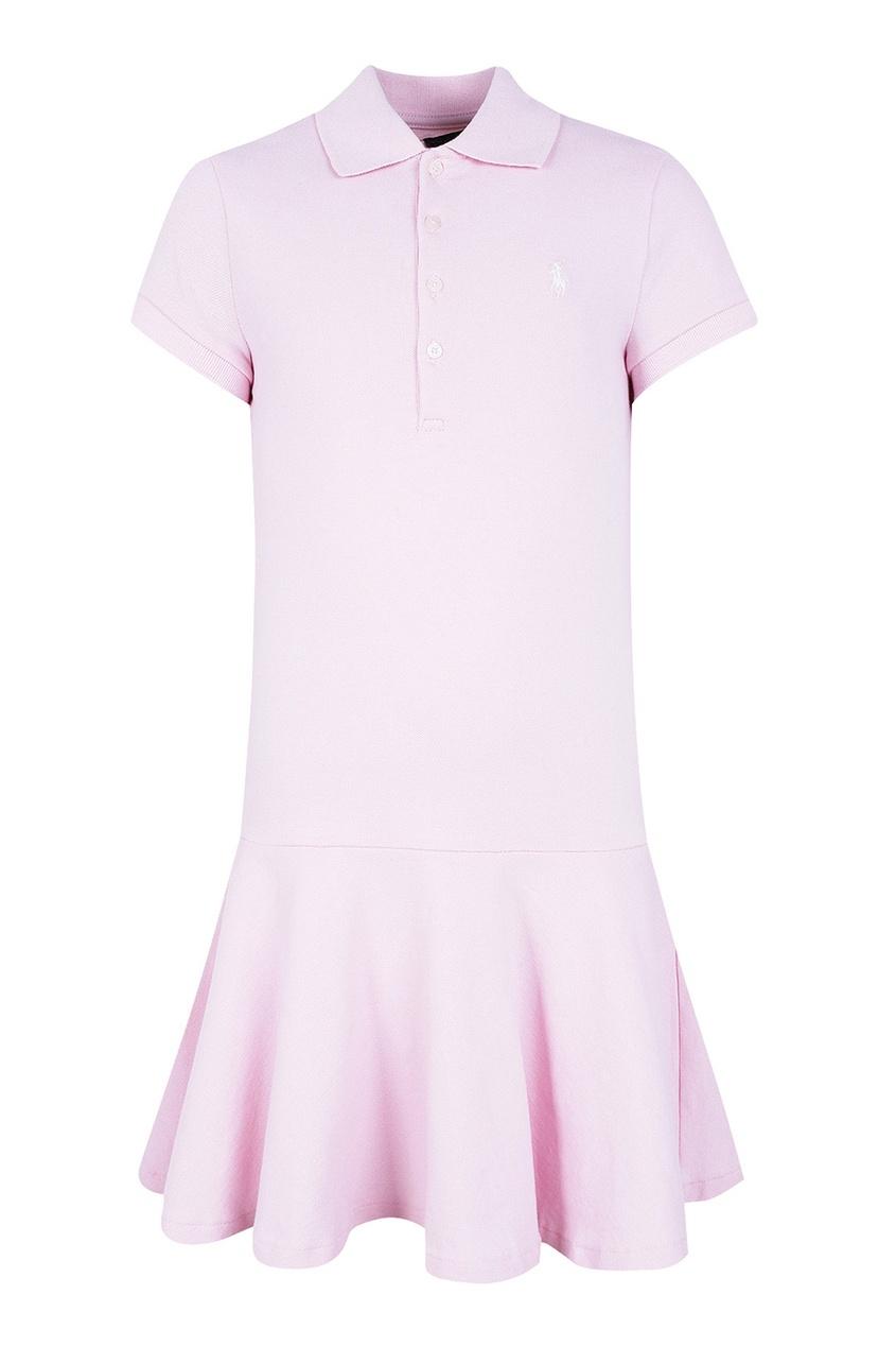 Розовое платье-футболка с оборкой