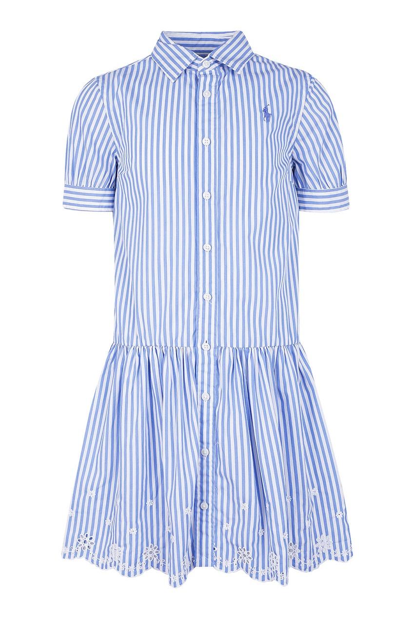 Платье в голубую полоску с ажурной отделкой