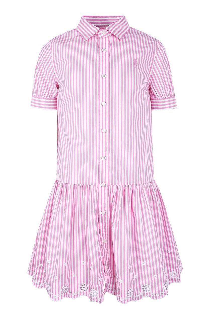 Платье в розовую полоску с ажурной отделкой