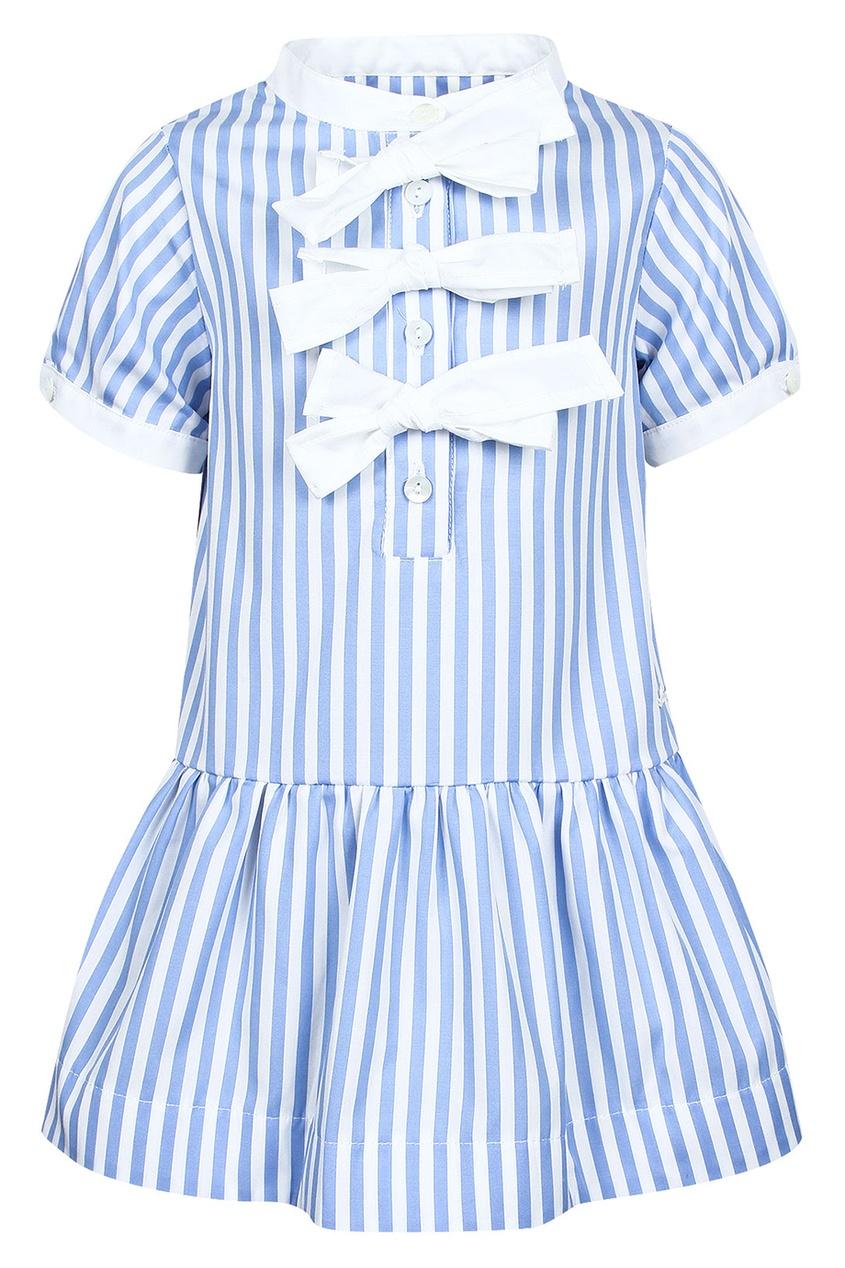 Платье в полоску с белыми бантами