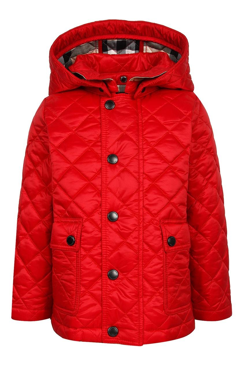 Купить Красная стеганая куртка от Burberry Kids красного цвета