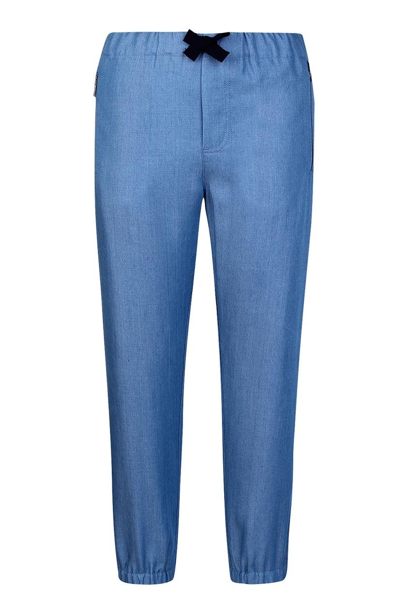 Burberry Children Голубые джоггеры с контрастным бантом burberry children хлопковые брюки