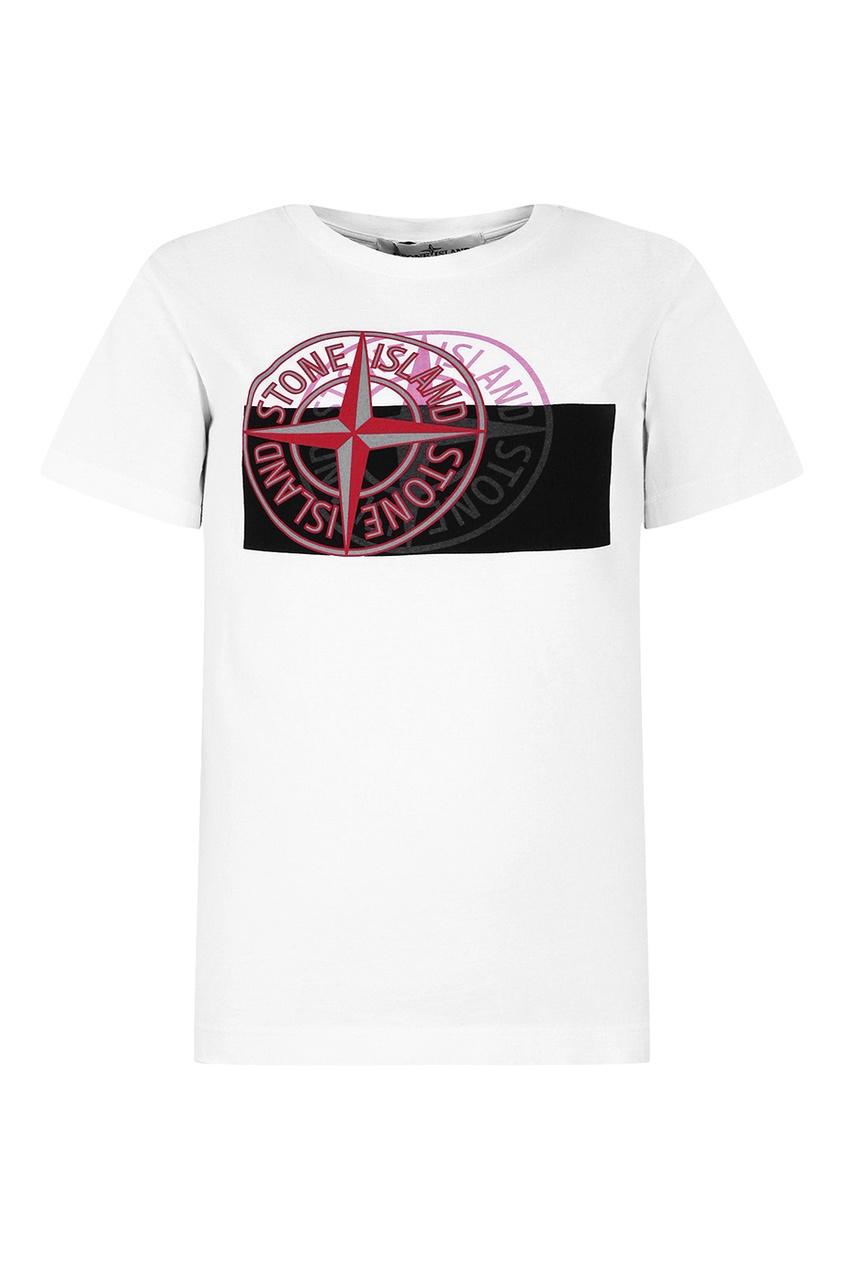Stone Island Children Хлопковая футболка с контрастным принтом stone island джемпер