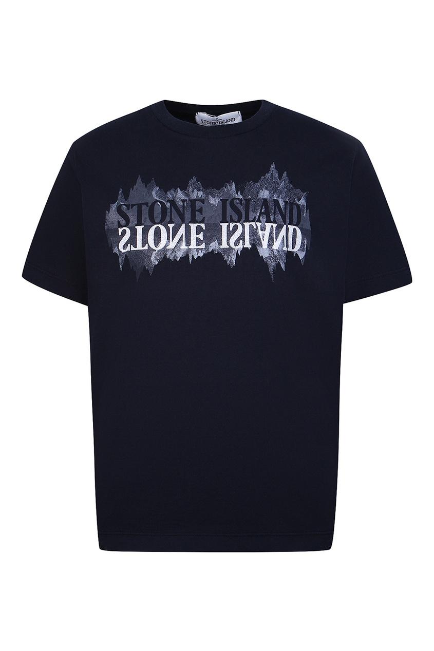 Stone Island Children Темно-синяя футболка с надписью stone island джемпер