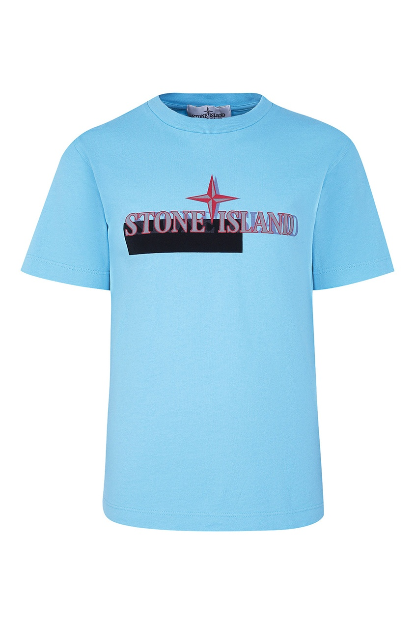 Stone Island Children Голубая футболка с логотипом stone island джемпер