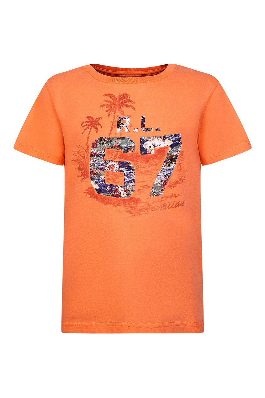 Оранжевая футболка с принтом