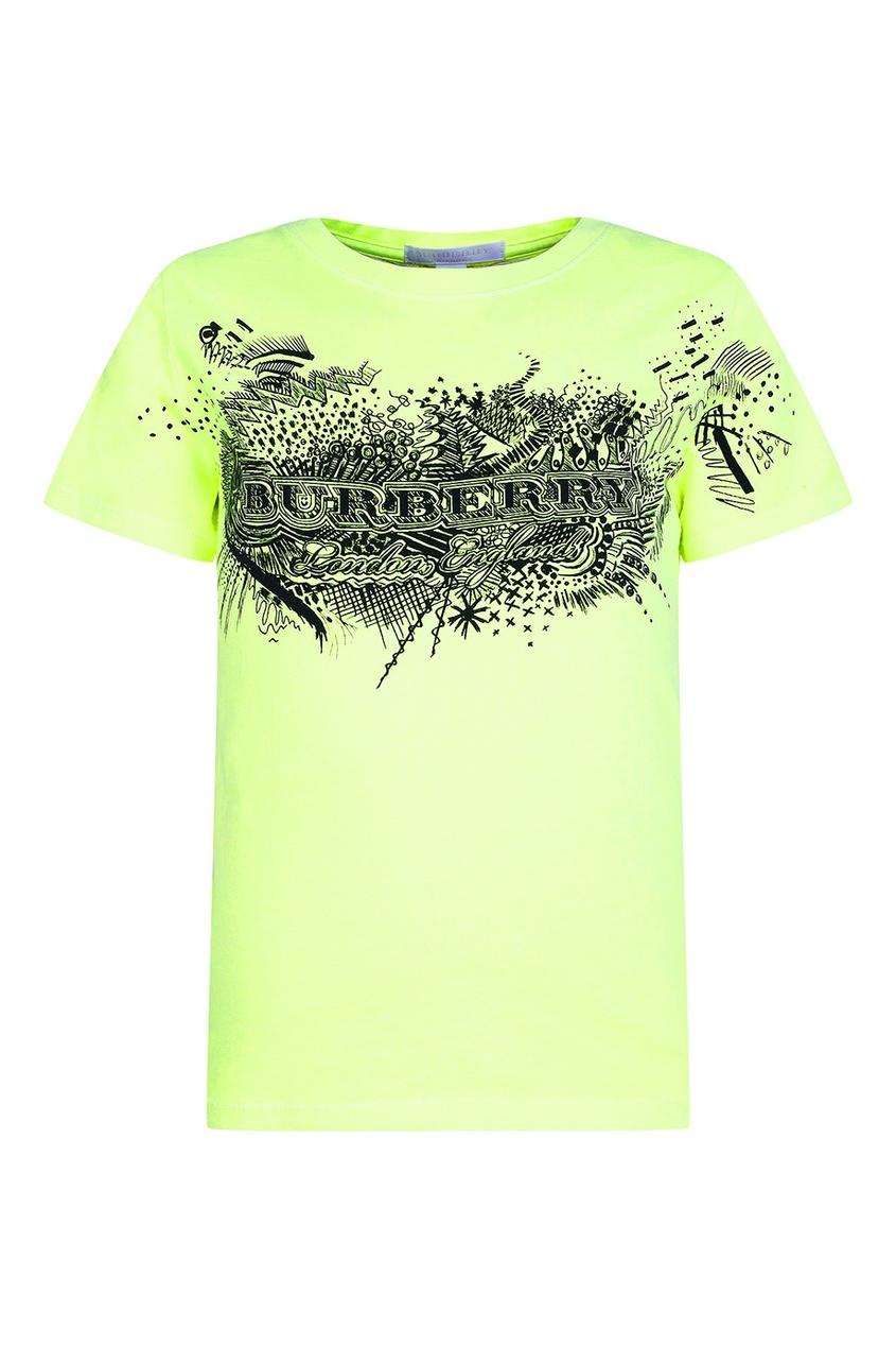 Зеленая футболка с контрастным принтом