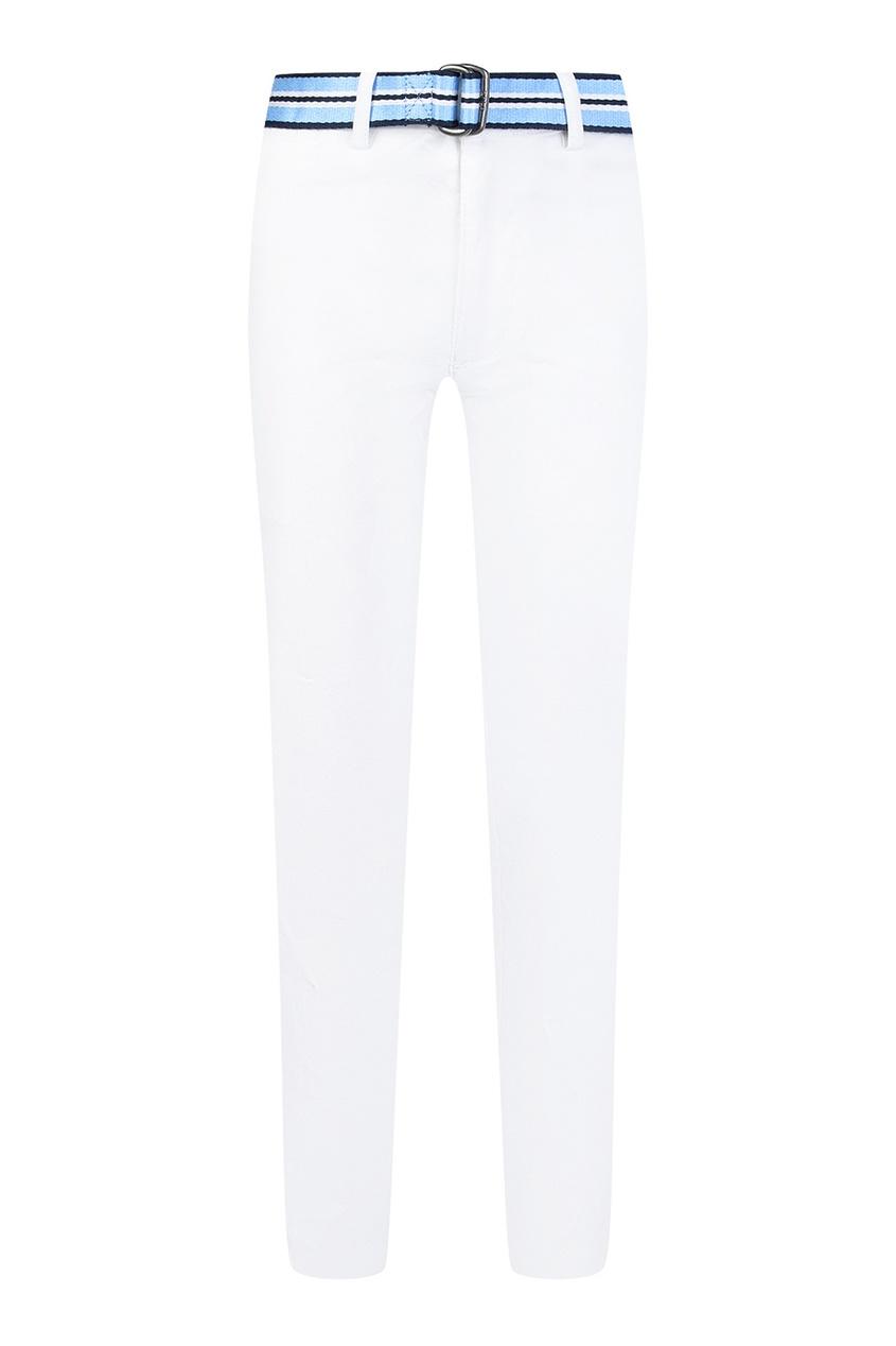 Белые брюки с цветным поясом