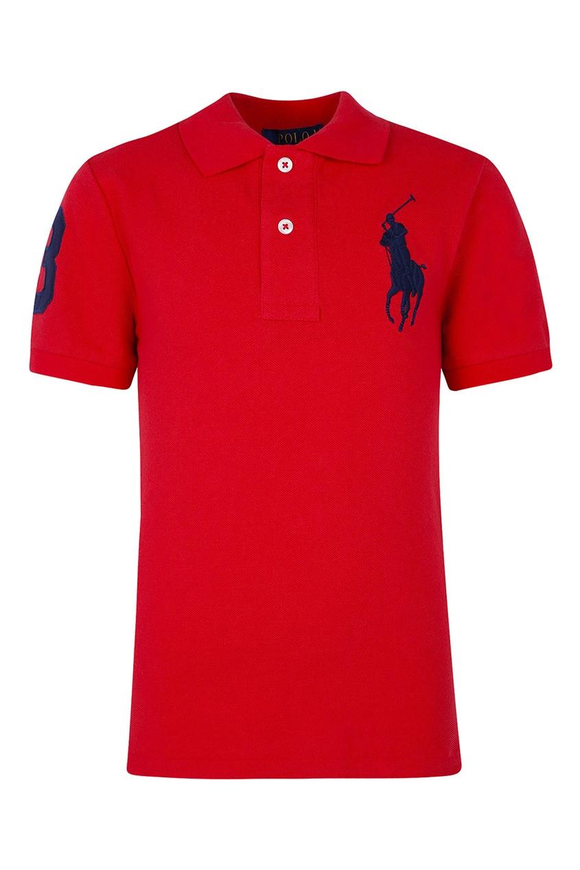Ralph Lauren Children Красная футболка-поло с контрастной вышивкой etro футболка с контрастной вышивкой