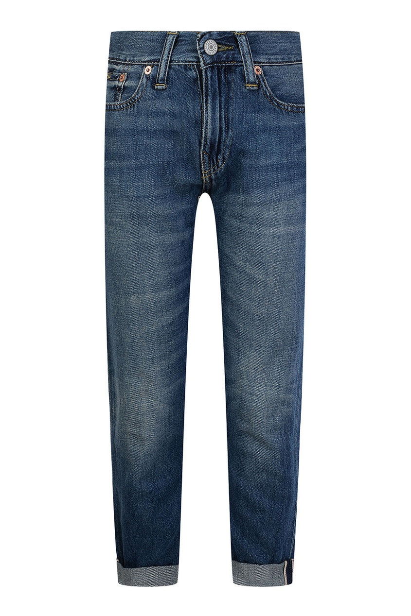 Ralph Lauren Children Темно-синие джинсы с отворотами ralph lauren children серо голубые джинсы