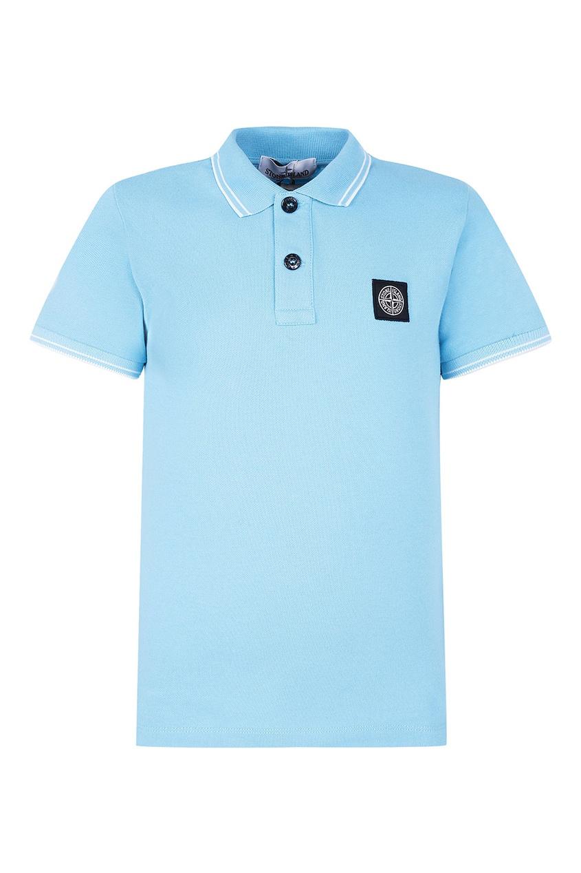 Stone Island Children Голубая футболка поло с нашивкой stone island джемпер