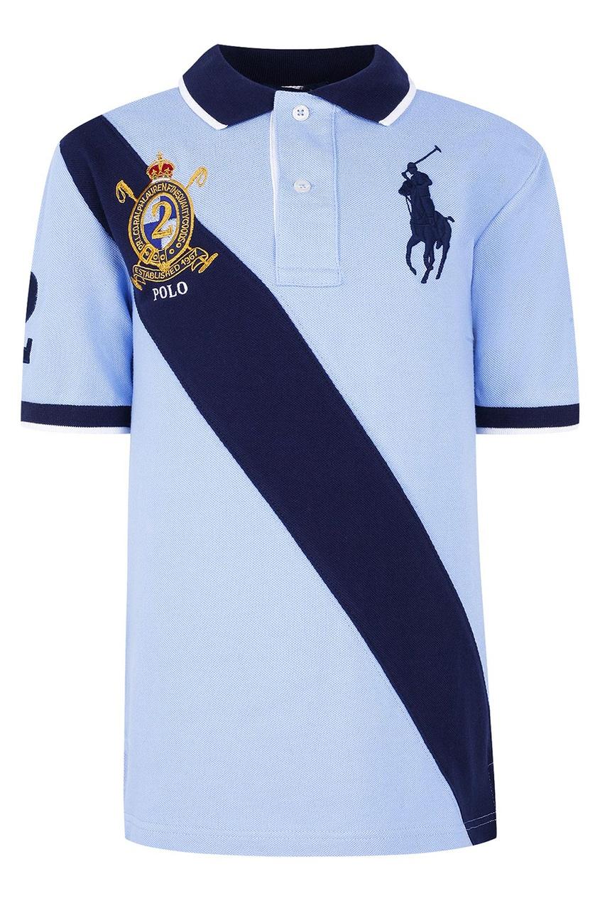 Ralph Lauren Children Голубая футболка со смешанной отделкой ralph lauren children серо голубые джинсы