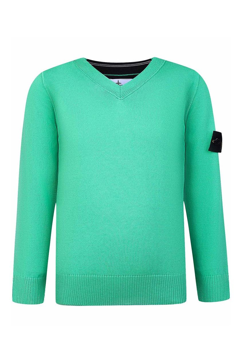 Зеленый пуловер с нашивкой от Stone Island Kids
