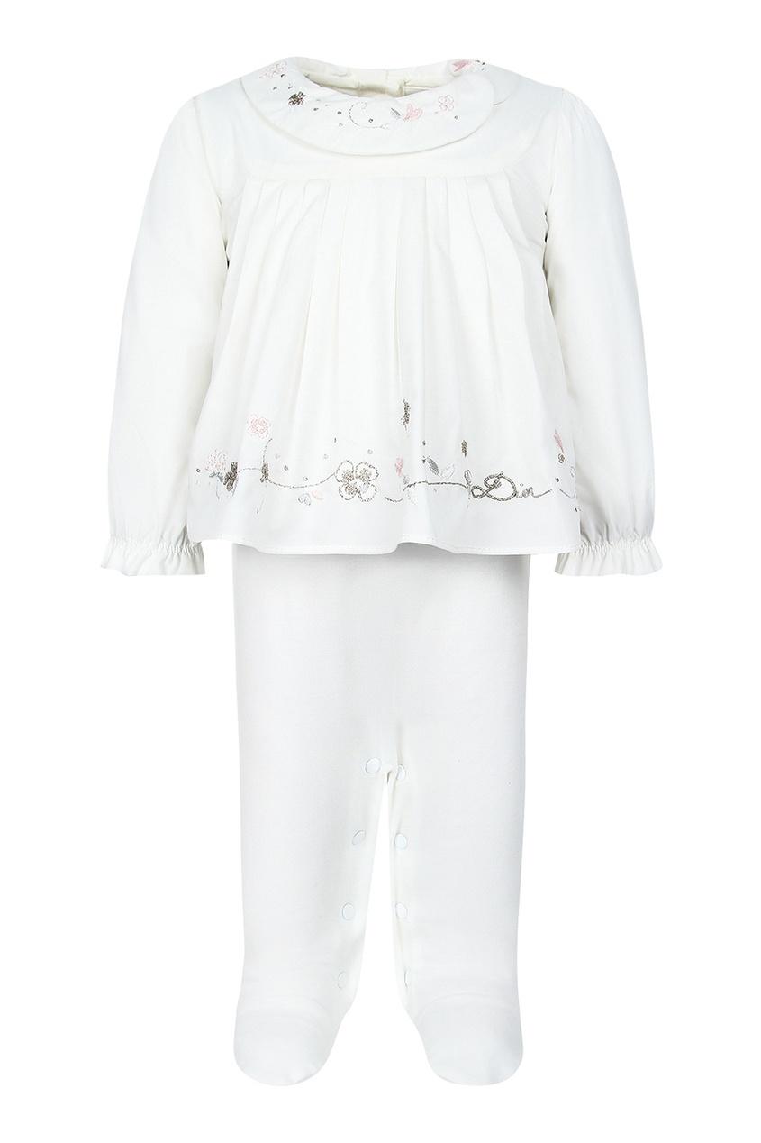 Dior Children Комплект с вышивкой dior children хлопковый нагрудник с вышивкой