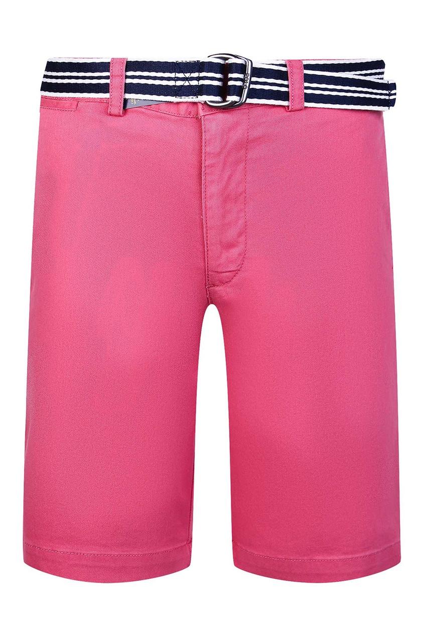 Розовые шорты с контрастным ремнем