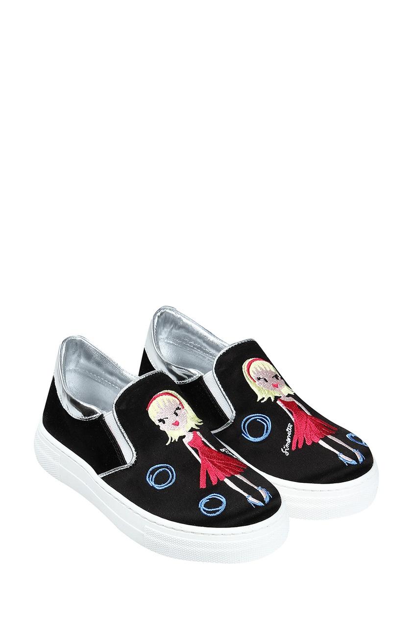 Simonetta Mini Черные слипоны с вышивкой