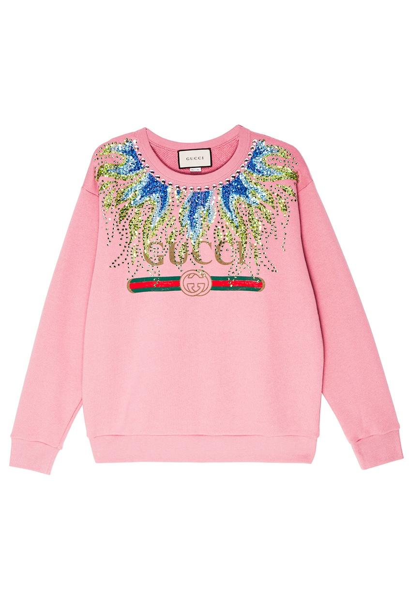 Gucci Хлопковый свитшот с кристаллами