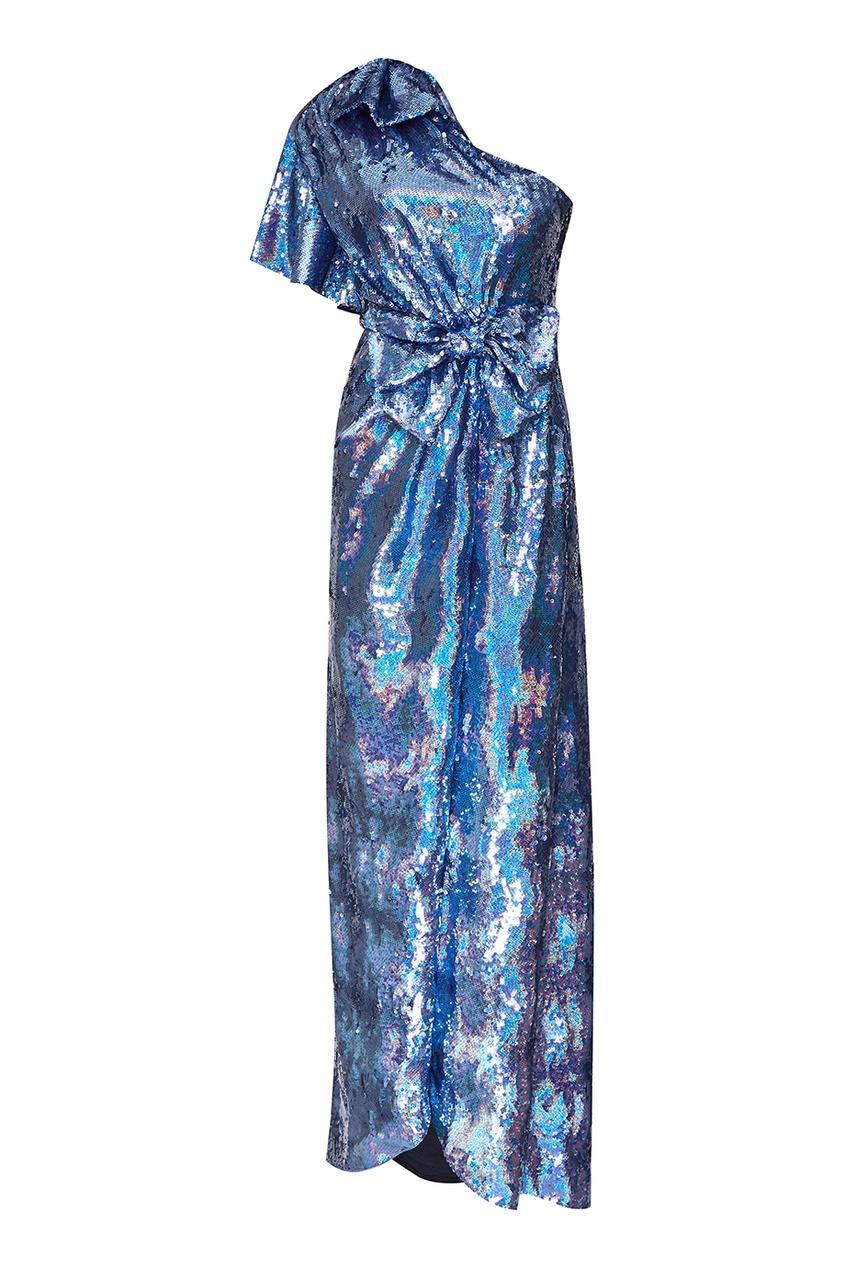 Синее шелковое платье с пайетками