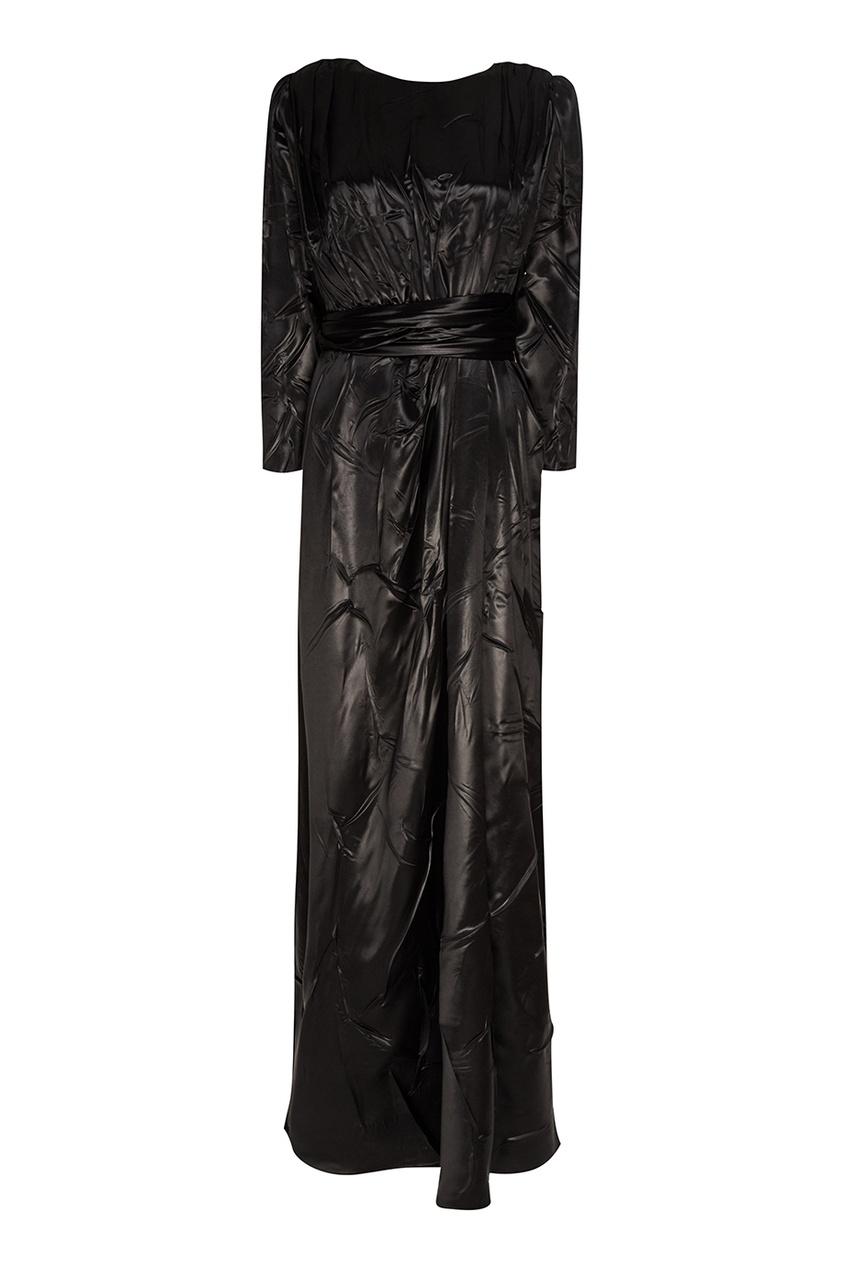 Черное атласное платье-макси