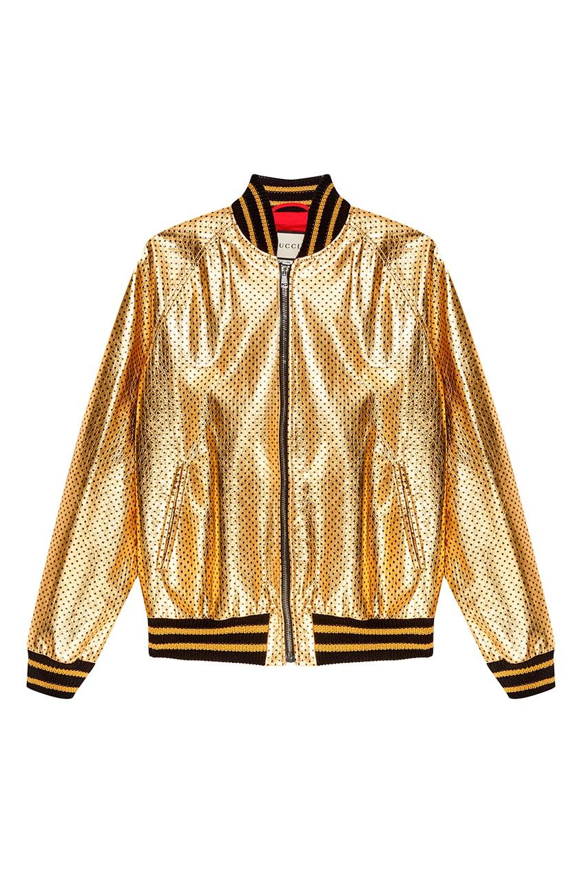 Куртка из золотистой кожи со звездами Gucci