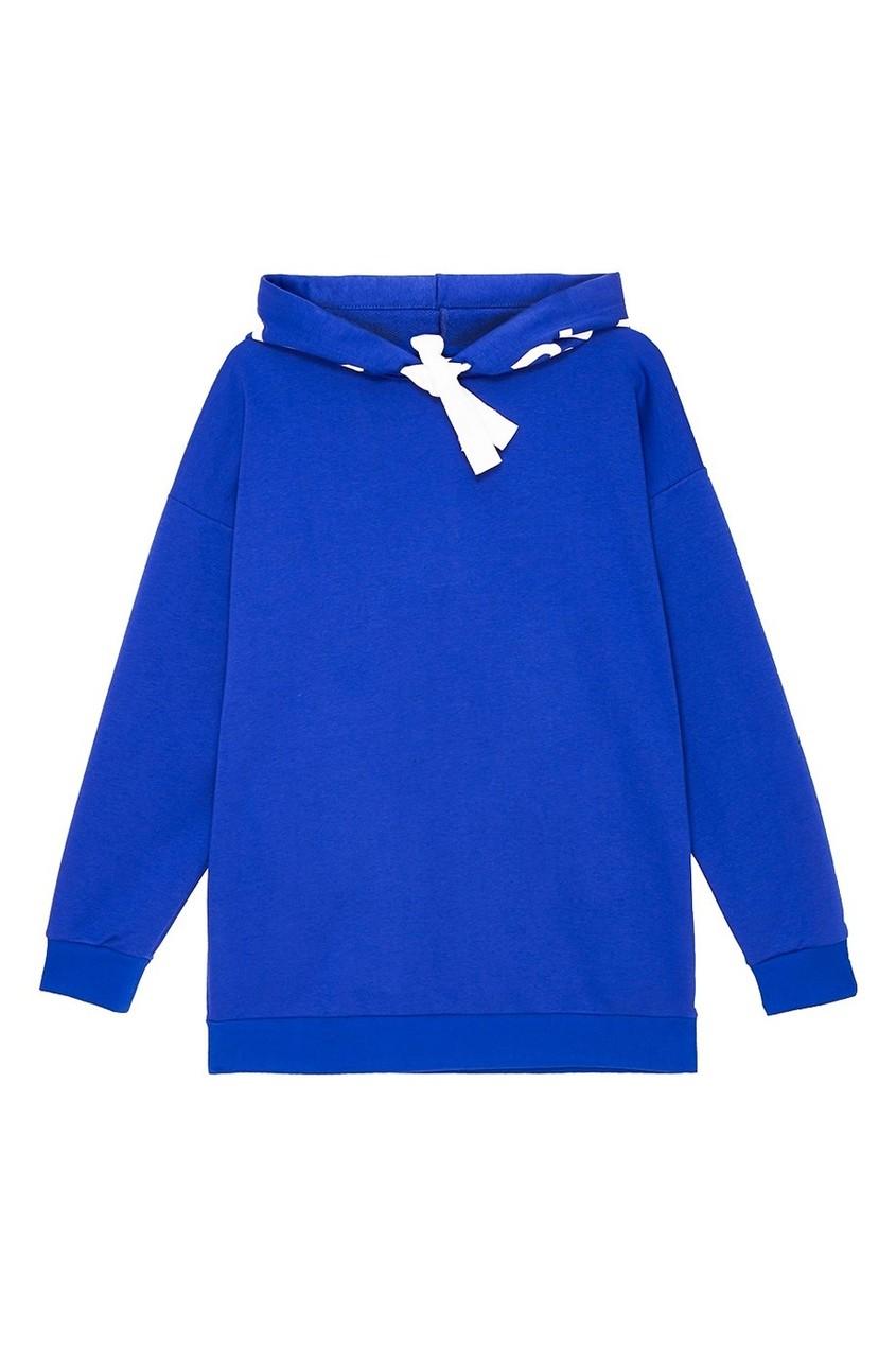 Синее худи с логотипом на капюшоне