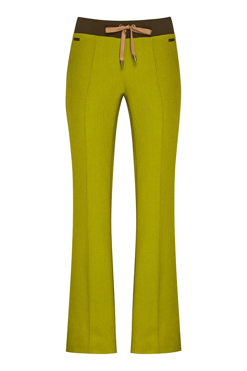 Зеленые шерстяные брюки с лампасами