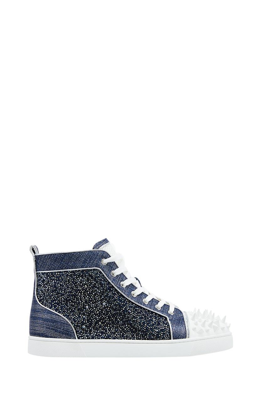 Christian Louboutin Комбинированные кеды с кристаллами No Limit 018 Flat no name комбинированные брюки