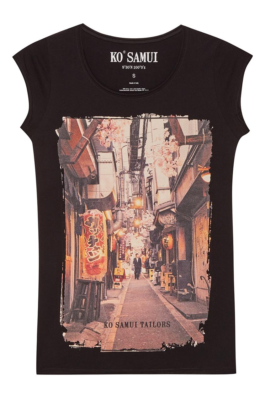 KO SAMUI Черная футболка с фотопринтом Walking ko samui белая футболка с фотопринтом shore