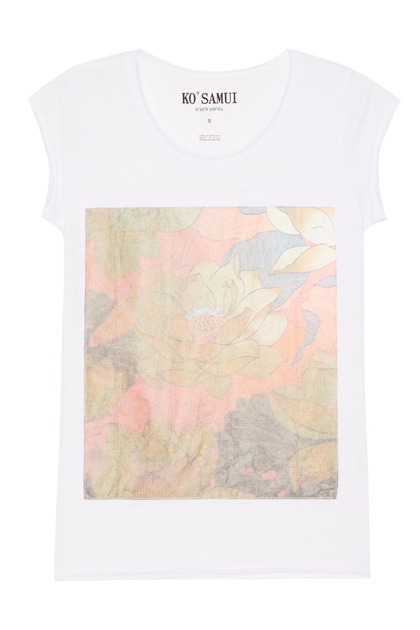 KO SAMUI Белая футболка с цветами Loto ko samui белая футболка с фотопринтом shore