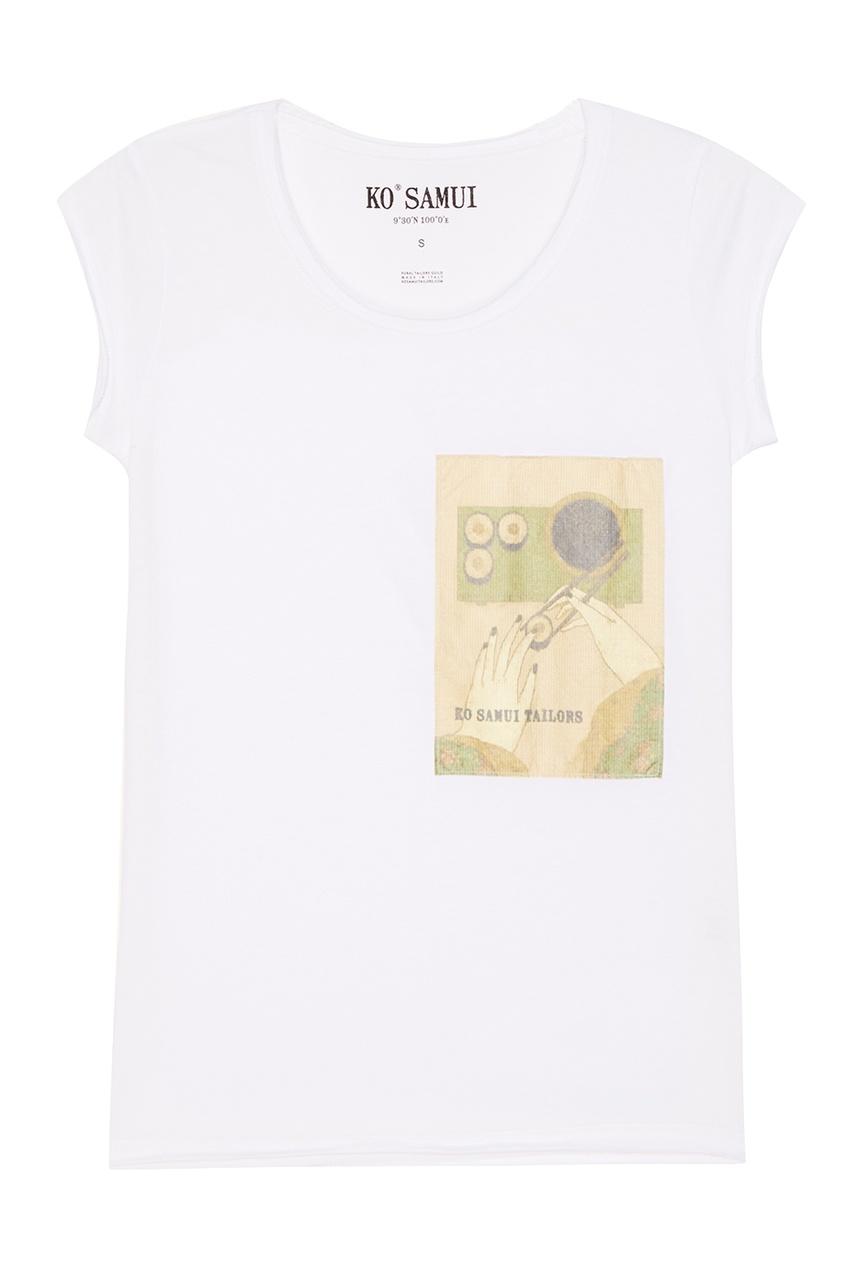 KO SAMUI Белая футболка с принтом Sushi sushi dzen