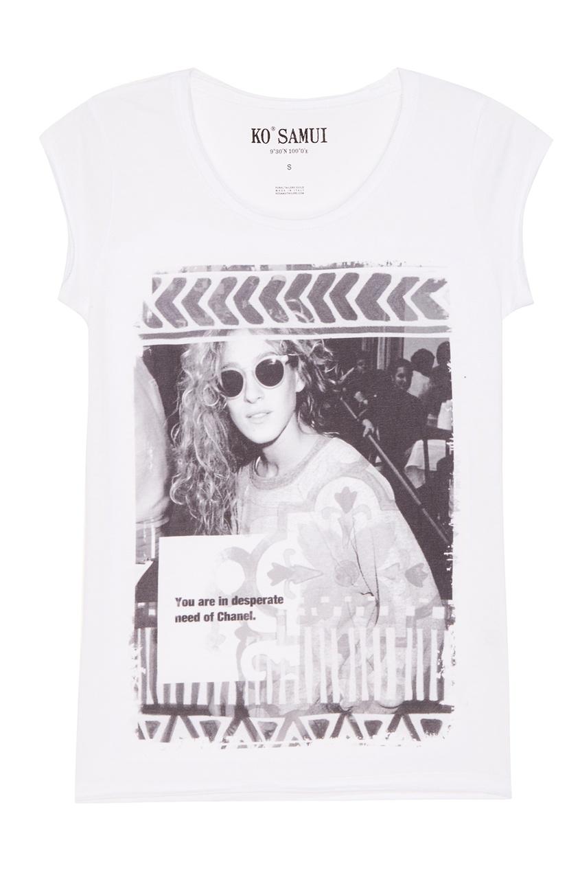 KO SAMUI Белая футболка с фотопринтом Desperate футболка белая catimini ут 00011611