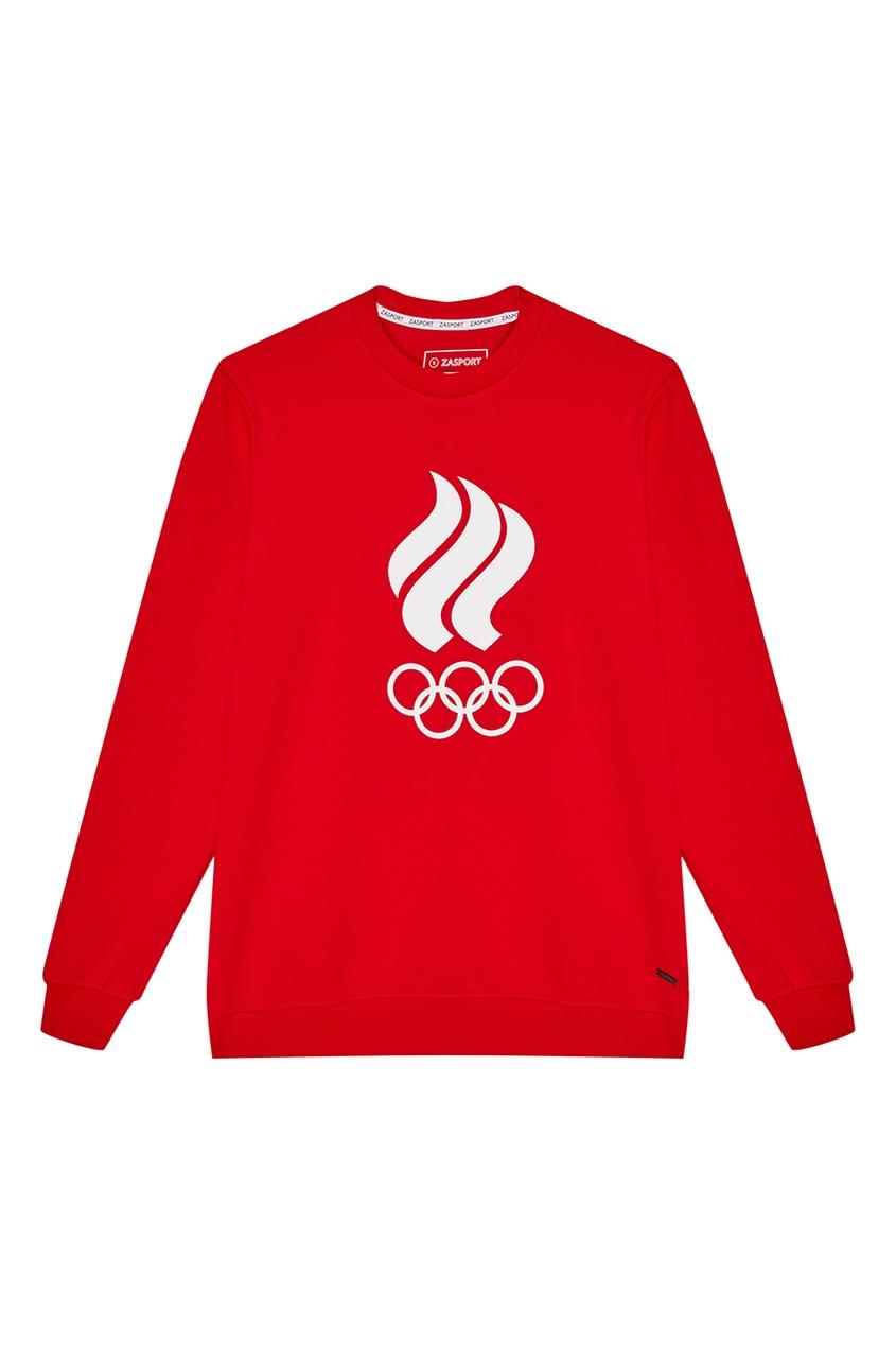 Красный свитшот с олимпийской символикой