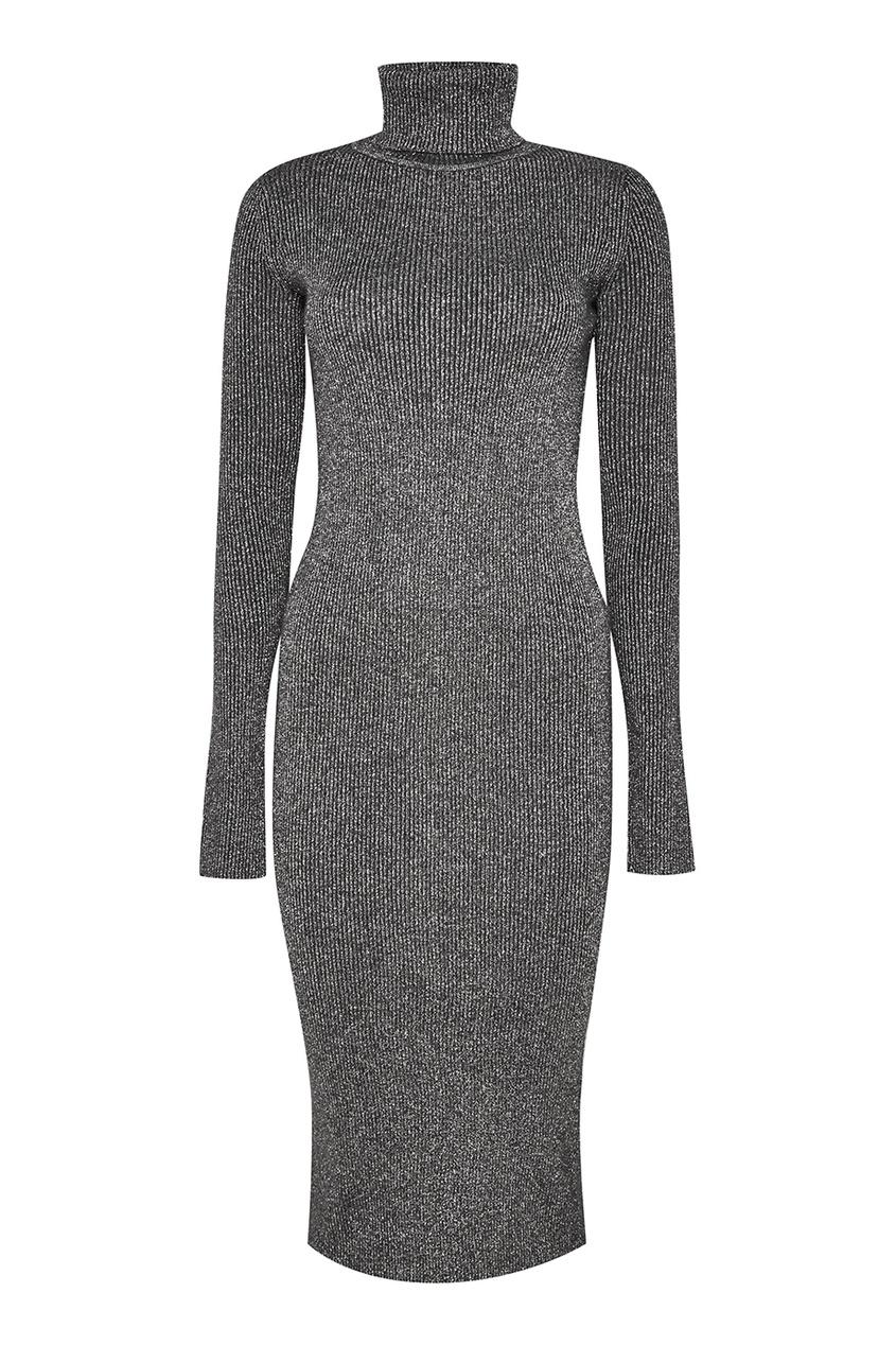 Серое шерстяное платье с люрексом