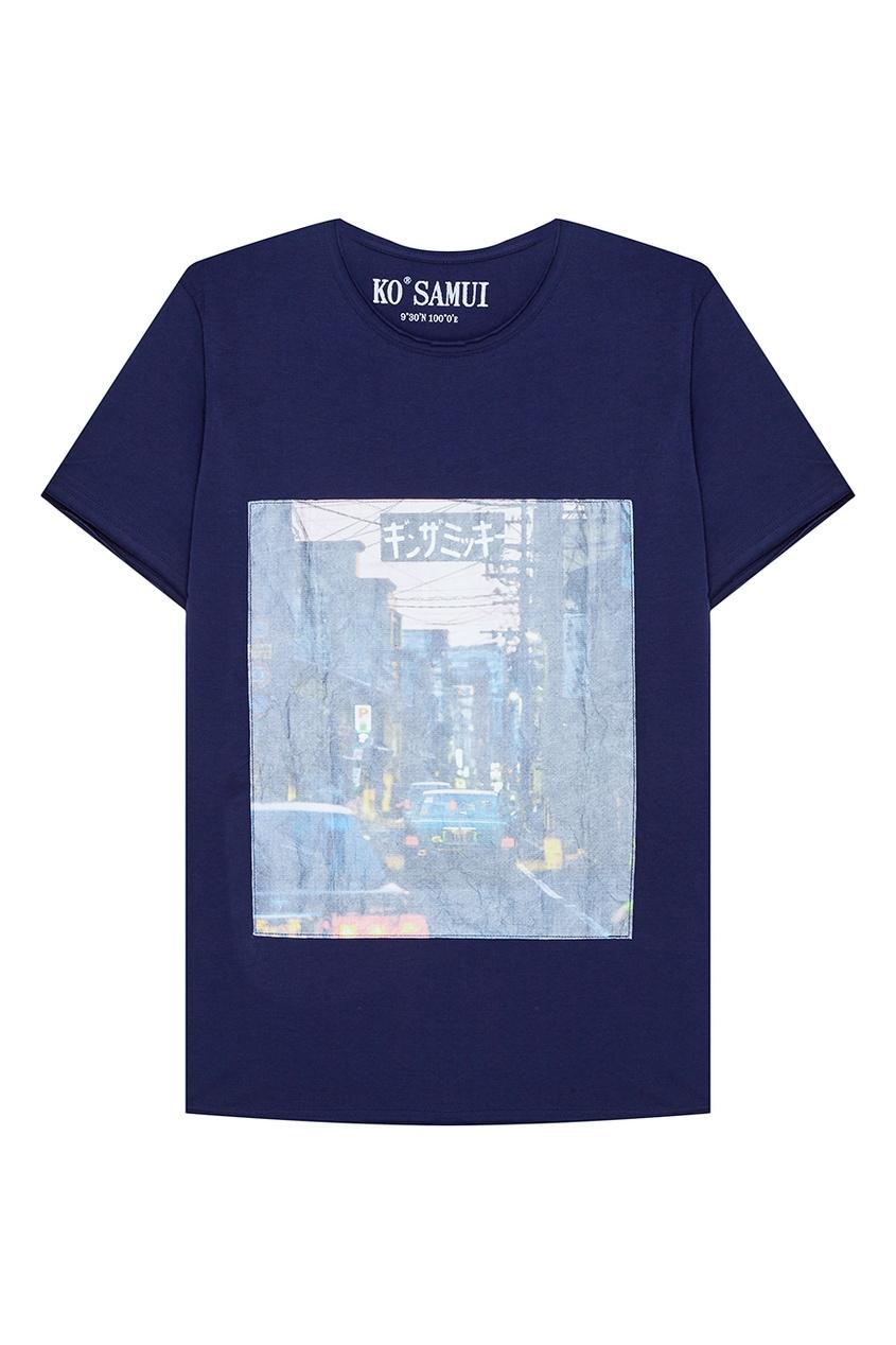 KO SAMUI Синяя футболка с принтом City Car ko samui черная футболка с черепом hamlet